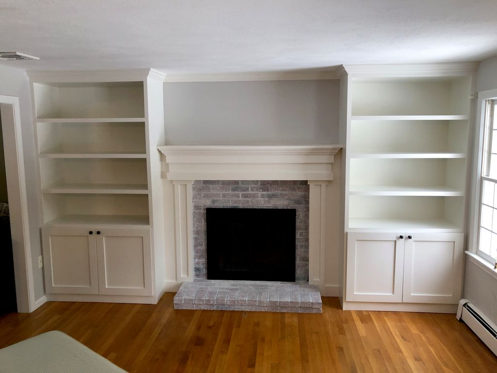 Built in's with fireplace mantle