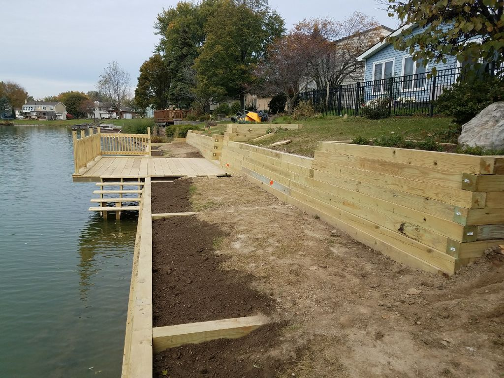 Wood Timber retaining wall, deck, steps