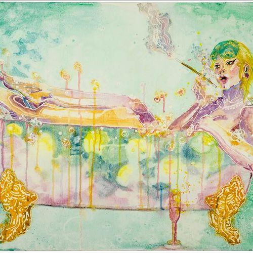 breakfast in bath (watercolor on canvas)