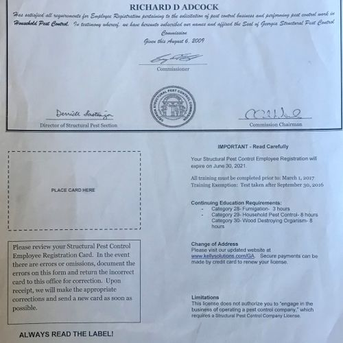 Pest Control license required for mice or rat removal/control