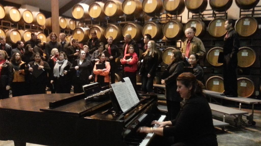 San Jose Chorale  rehearsal at winery barrel room