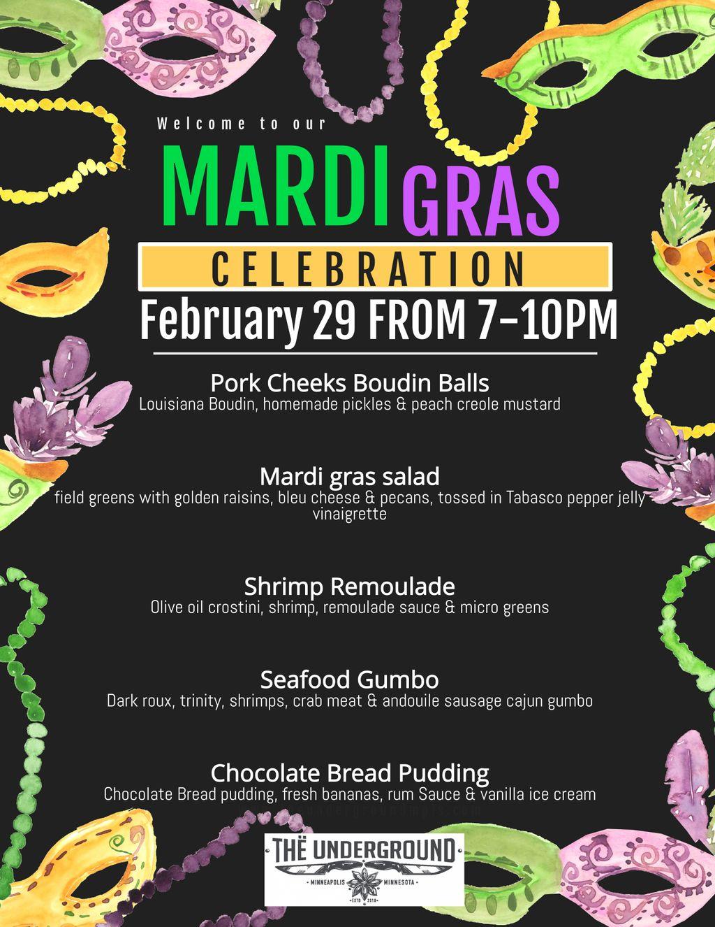 Mardi Gras 5 Course Dinner