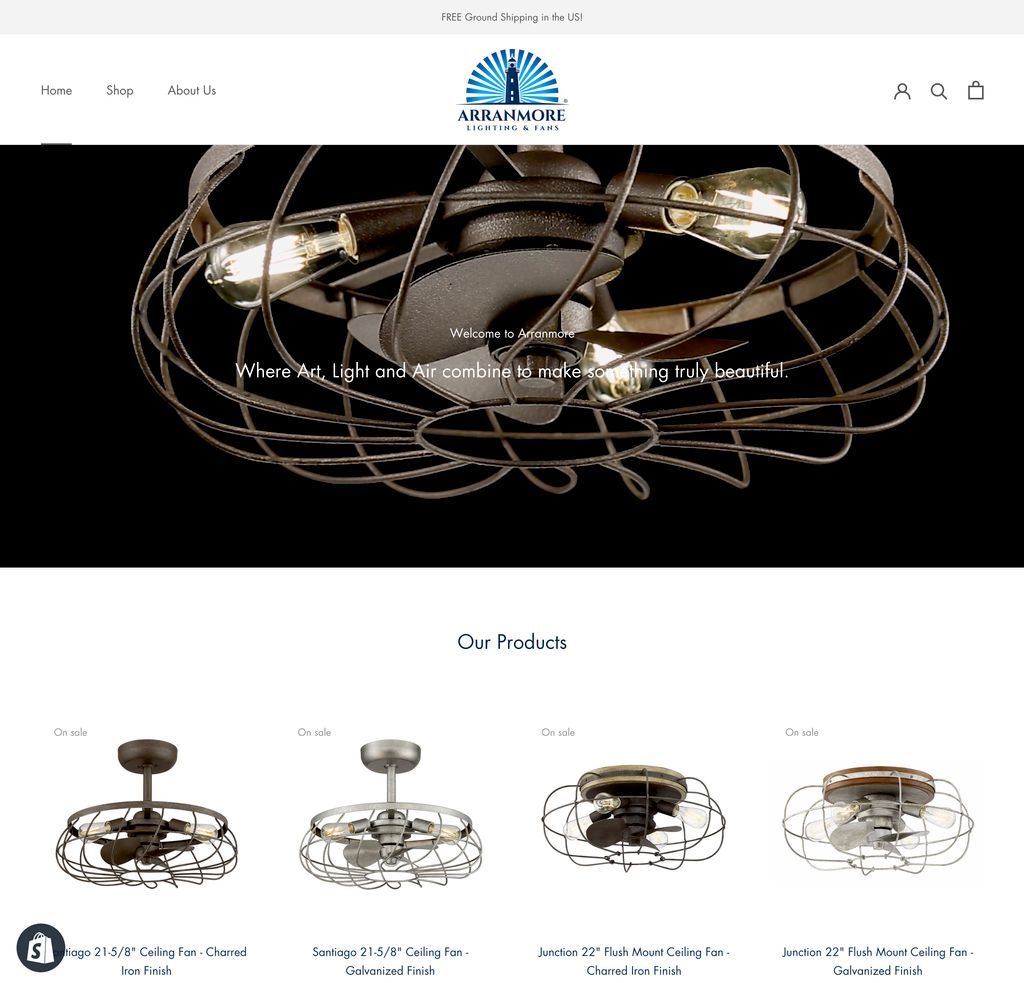 Arranmore Lighting & Fans Branding and Web Design