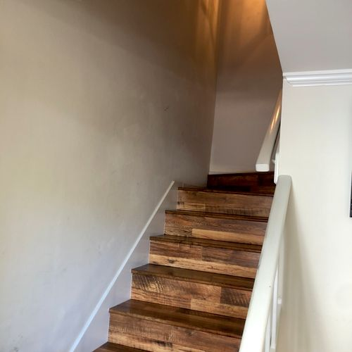 Before paint in stair way.