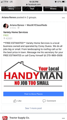 Avatar for Variety Home Services Marion, KY Thumbtack