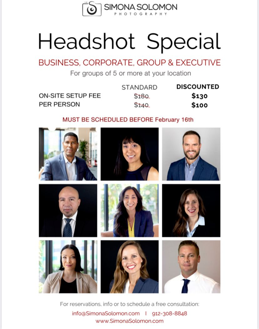 Business Headshot Special for groups of 5 and up