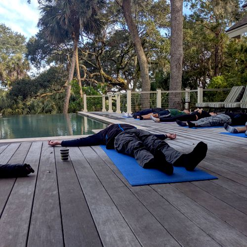 Private yoga session for a corporate retreat on Kiawah