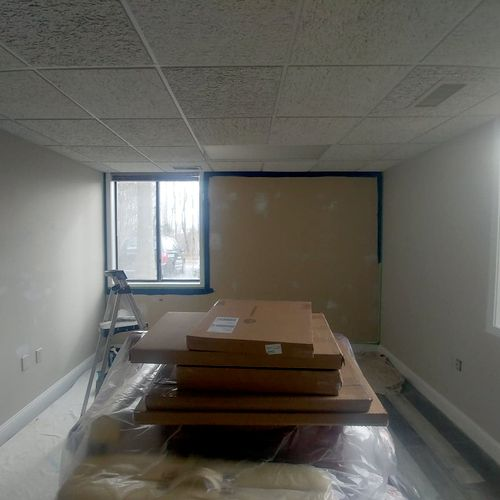 work in progress of an office i patched and painted.