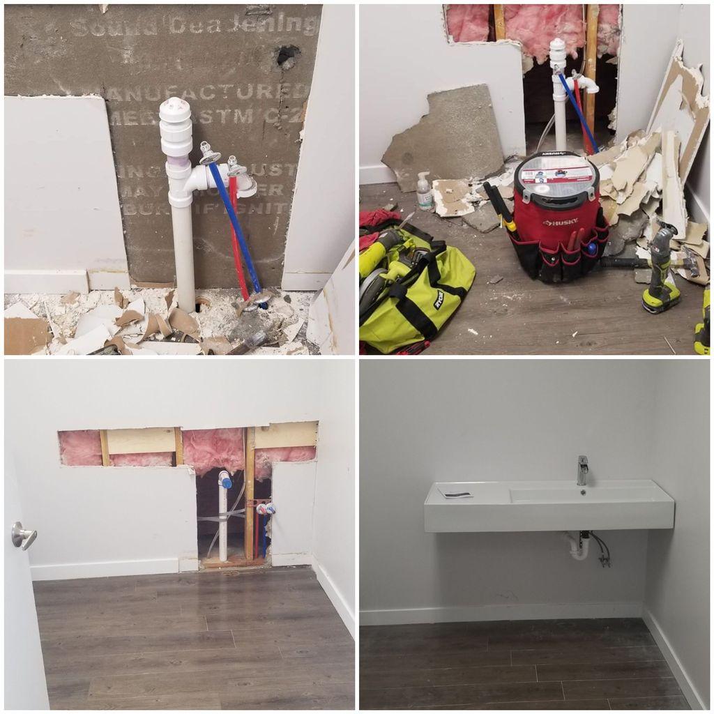 Install new bathroom sink