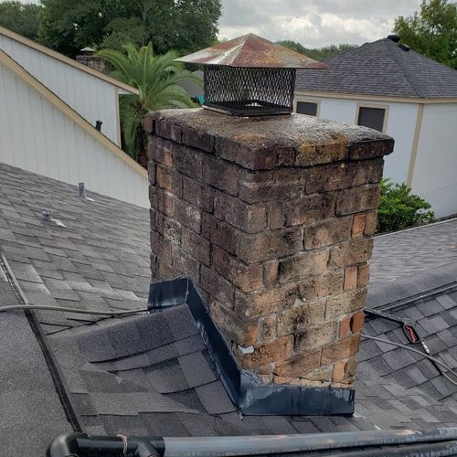 Before: Chimney needed Pressure Washing to remove grime, ect.