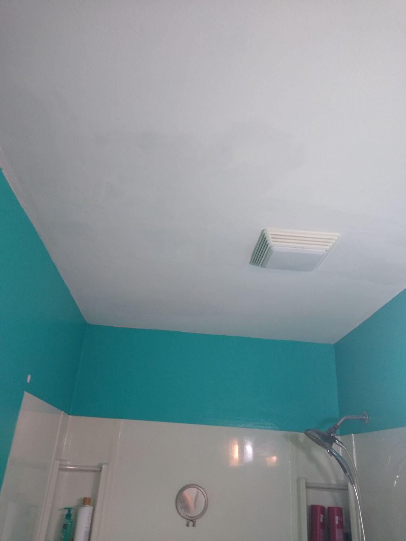 Teal blue to comfort gray bathroom