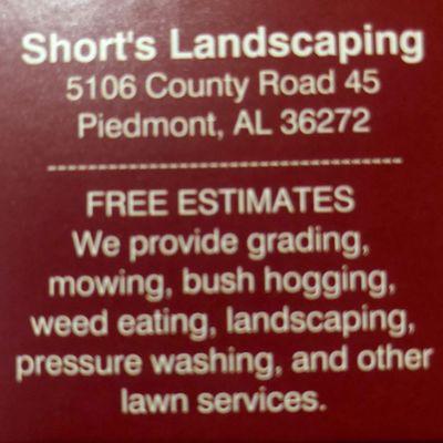 Avatar for Short's Landscaping Spring Garden, AL Thumbtack