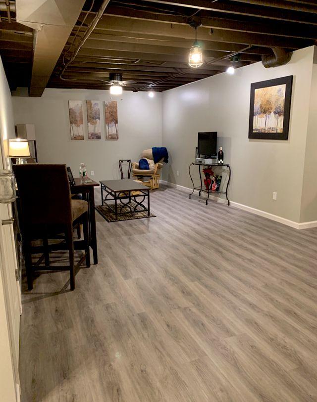 Finished basement, Sprayed ceiling