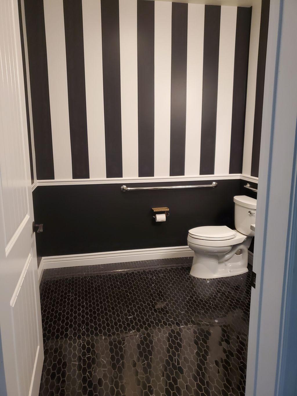 Bathroom remodel Black White & Golden Eggs