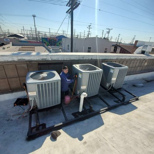 Crew member Rene, making final touches on another commercial rooftop installation!