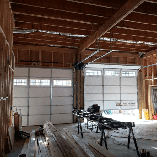 Interior of garage door, new installation