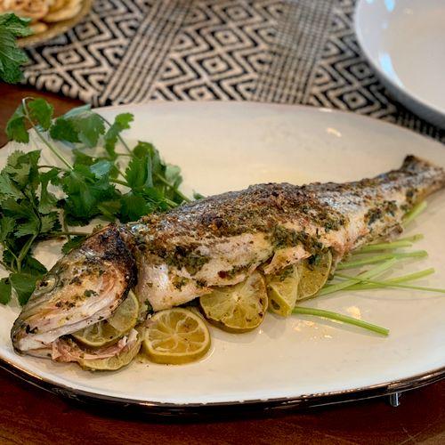 Lime cilantro whole roasted sea bass