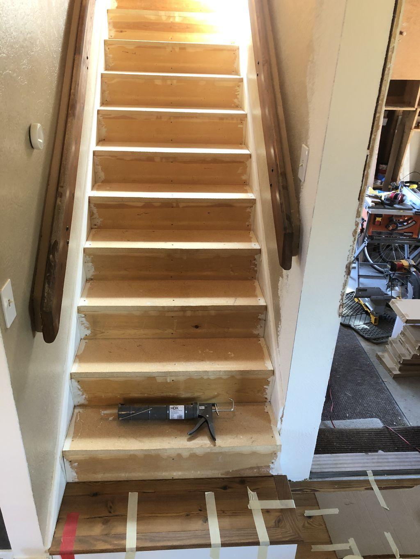 Engineered Hardwood floor and stairs
