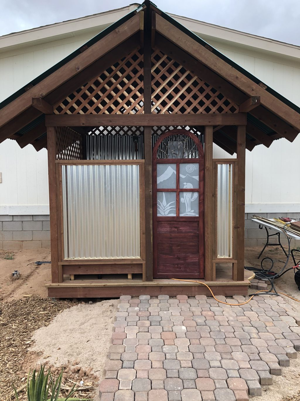 Just finished building this outdoor bathhouse