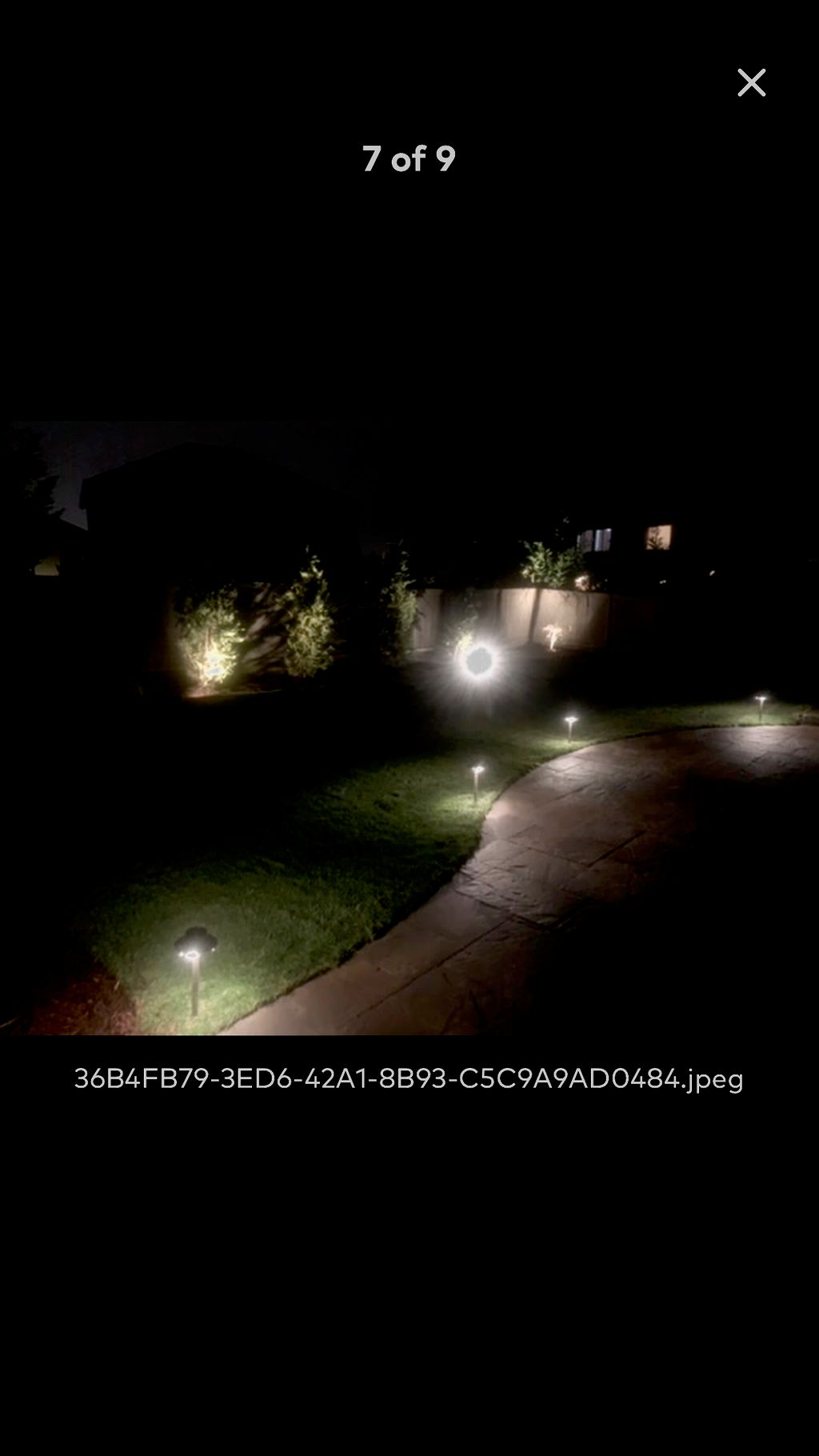 Outdoor patio with lighting