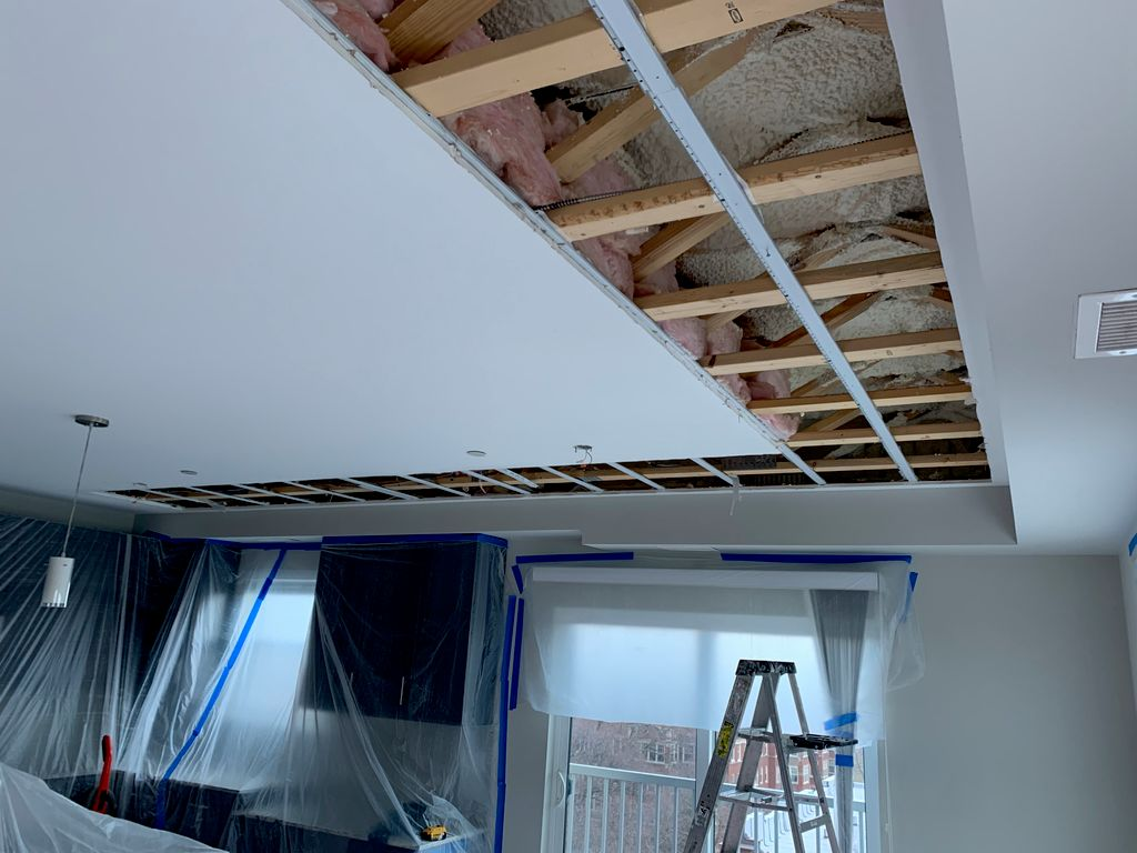 Remove drywall, spray insulate ceiling hang and repaint