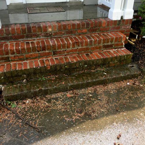 Brick Pressure Washing Before Last Step