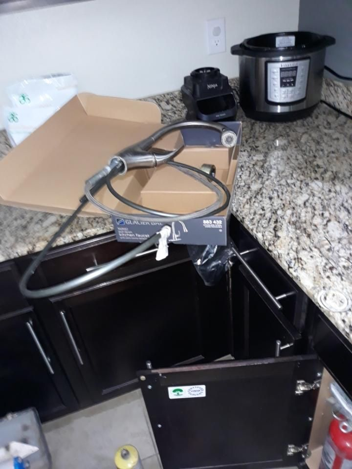 New kitchen sink with faucets