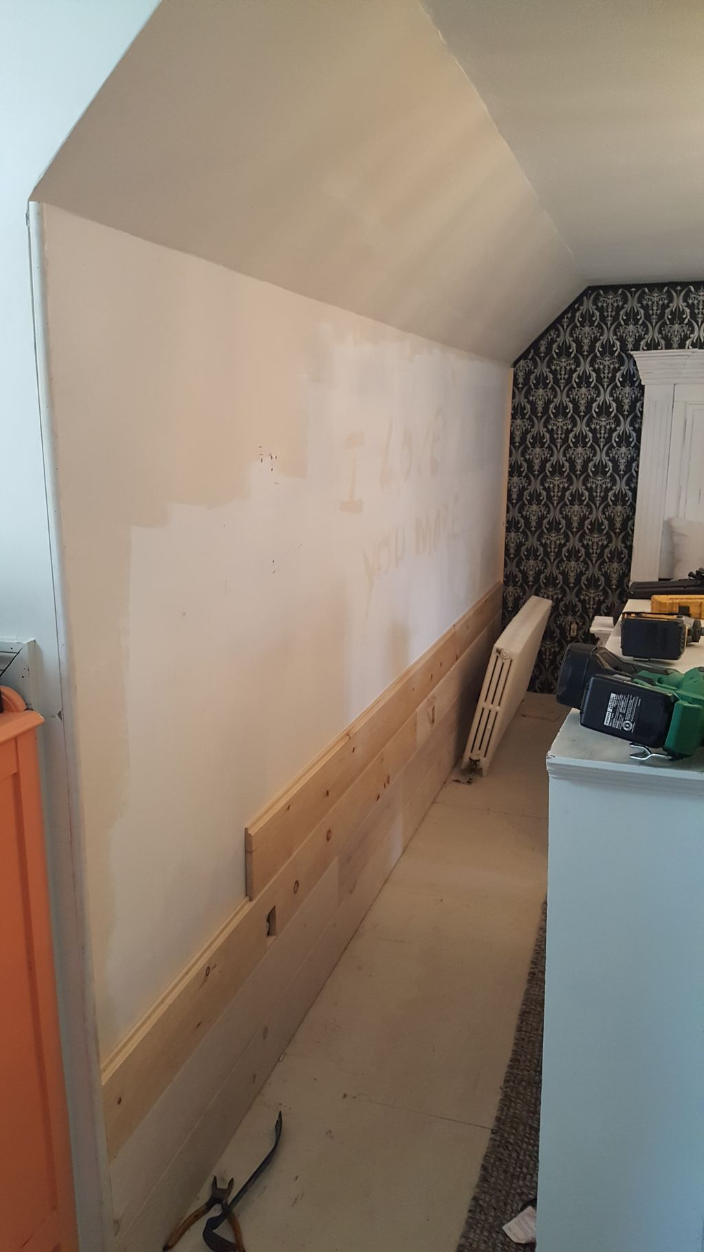 Shiplap Install in Master Bedroom