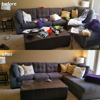 Living room cleaning before and after