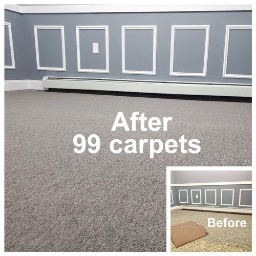 Bedroom carpet installation by 99 carpets