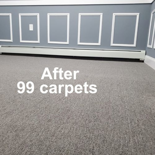 Gray commercial carpet installation by 99 carpets