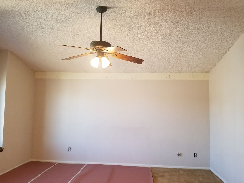 Removed popcorn ceiling, new knock down texture, paint