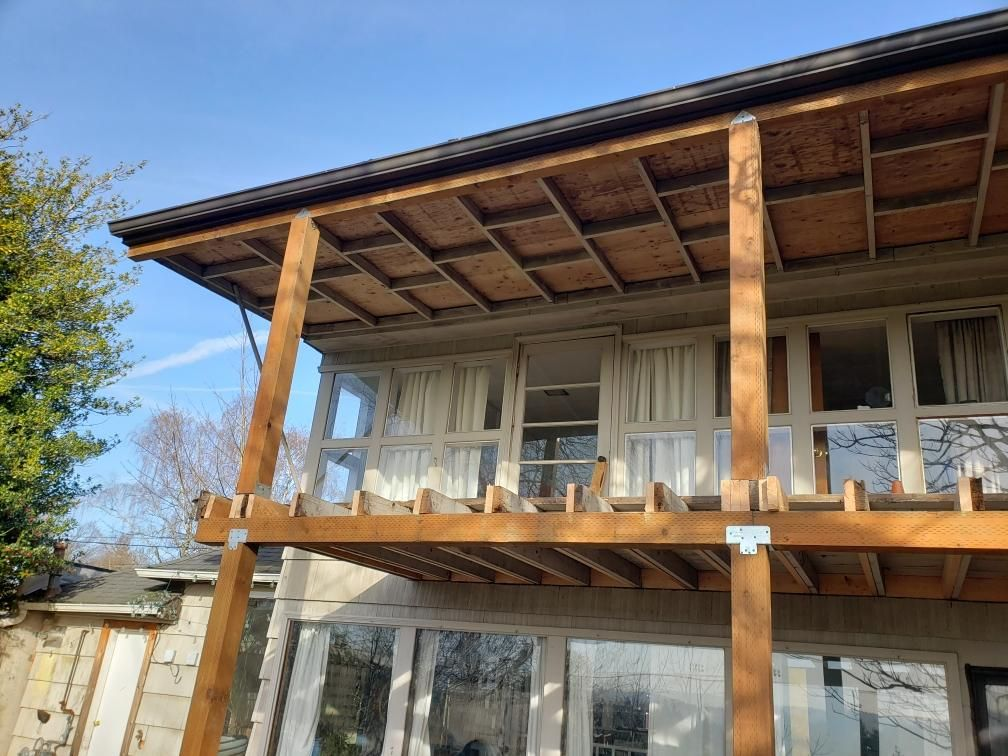 Deck, spiraling stair case, patio remodeling