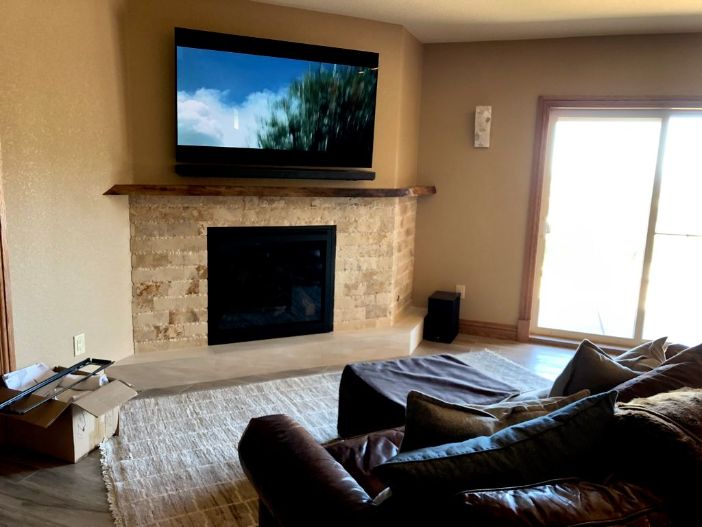 TV with soundbar and subwoofer