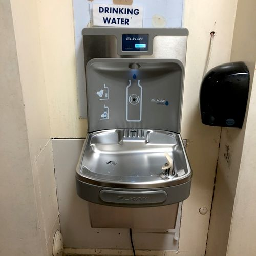 Finished product. Drinking fountain/bottle filler