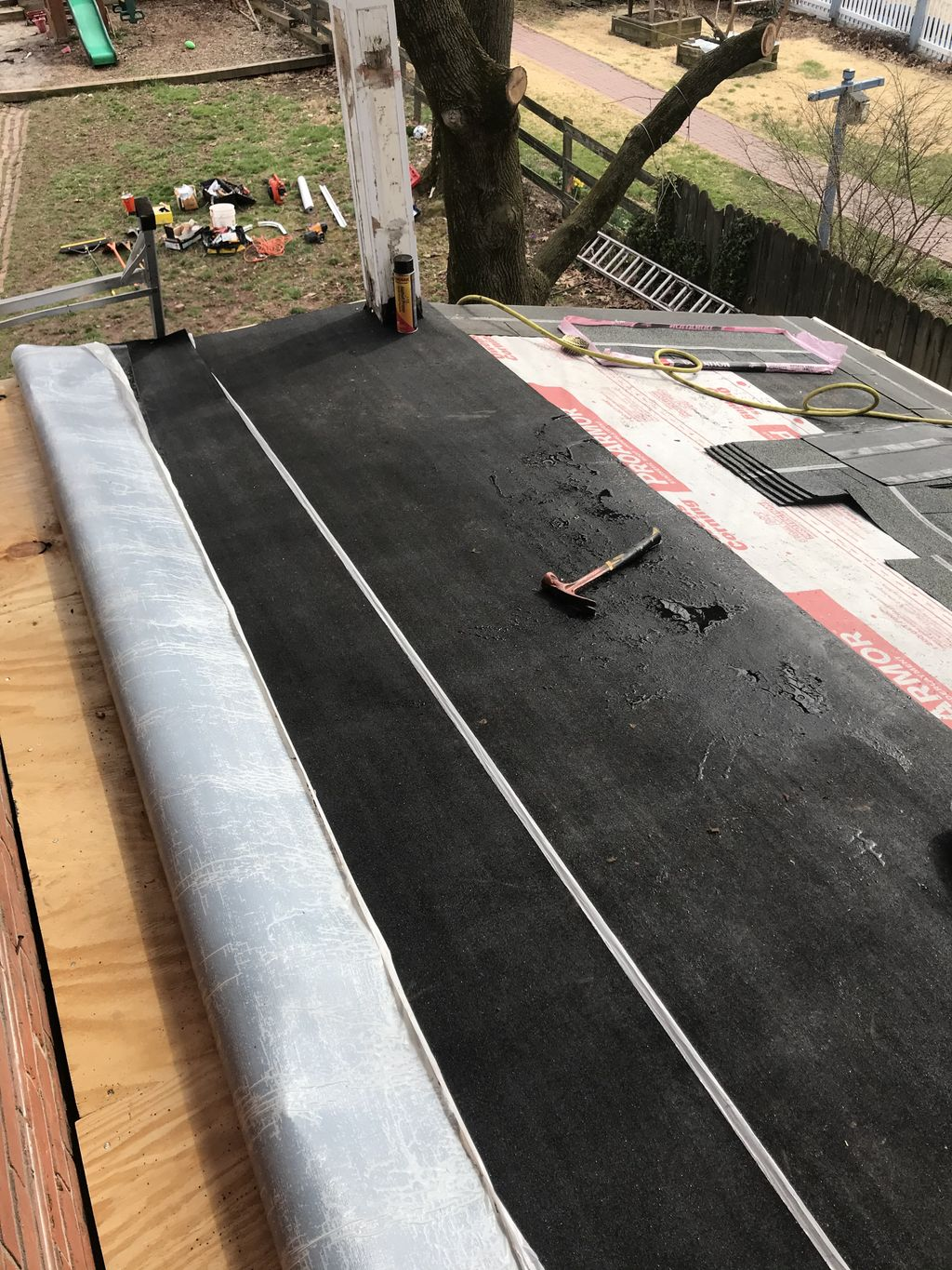 Flat transitioning into shingle total deck replacement