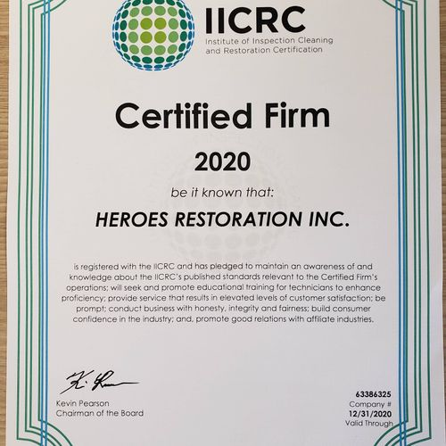 We are an IICRC Certified Firm