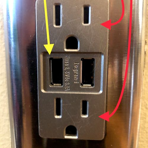 Installation of duplex outlet with USB combo