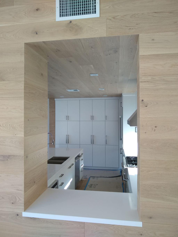 Engineered hardwood on walls and ceilings