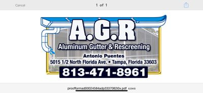 Avatar for A.G.R. (Aluminum, Gutter & Rescreening