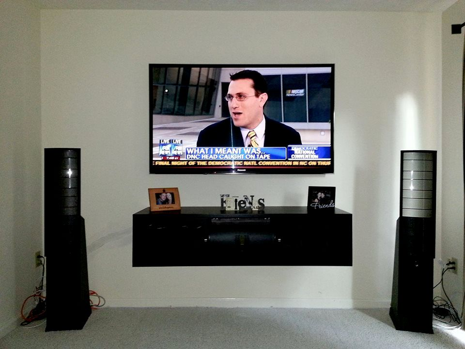 Mount floating component shelf and TV above with wires concealed