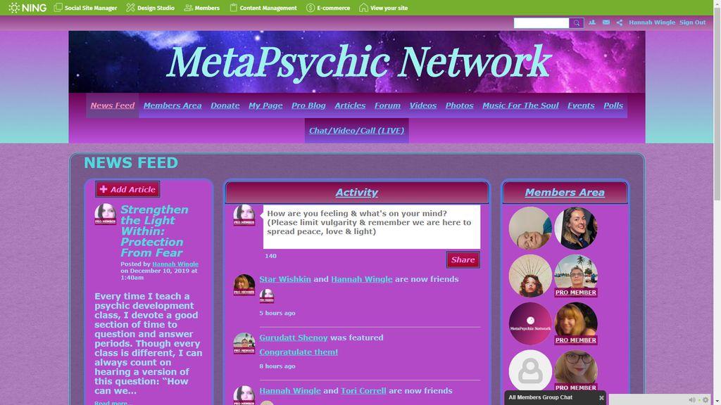 MetaPsychic Network Website Design