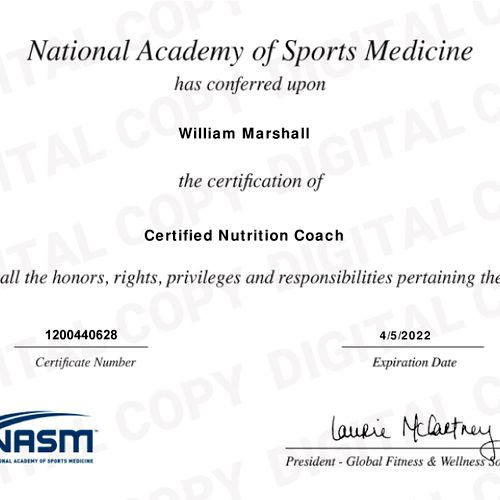 Proof of certification as a Nutrition Coach with NASM