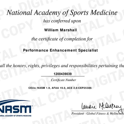 Proof of certification as a Performance Enhancement Specialist with NASM