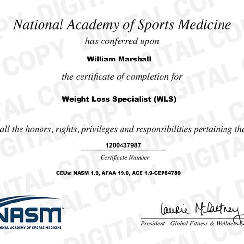 Proof of certification as a Weight Loss Specialist with NASM