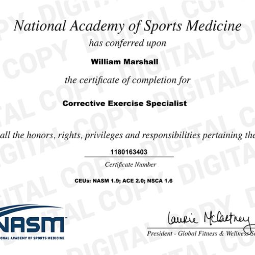 Proof of certification as a Corrective Exercise Specialist with NASM