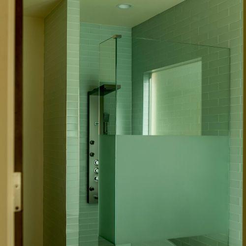 Walk in shower- Glass wall