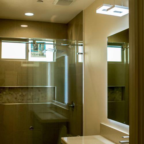Walk in shower- Sliding glass door