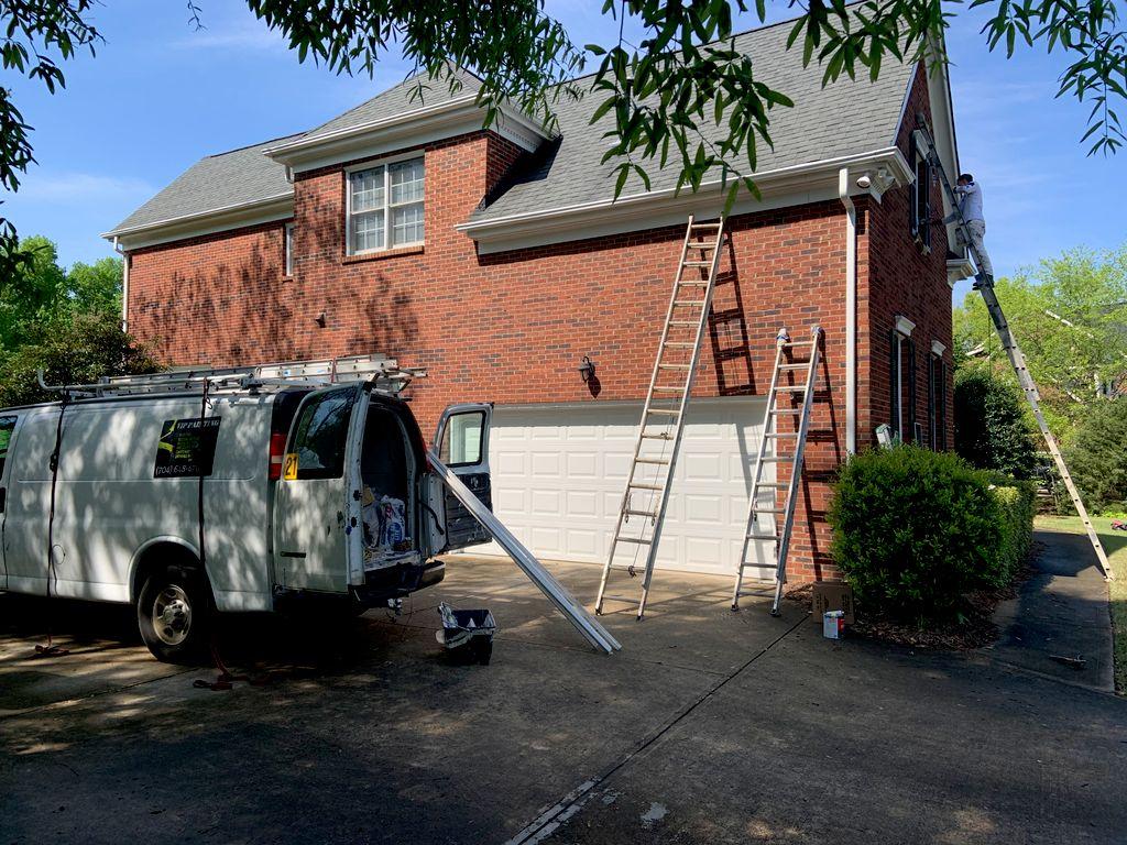 Painting boxing and repair brick molding