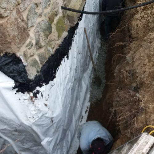 stone foundation parged amd sealed